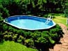 Above Ground Pool with Shrubs